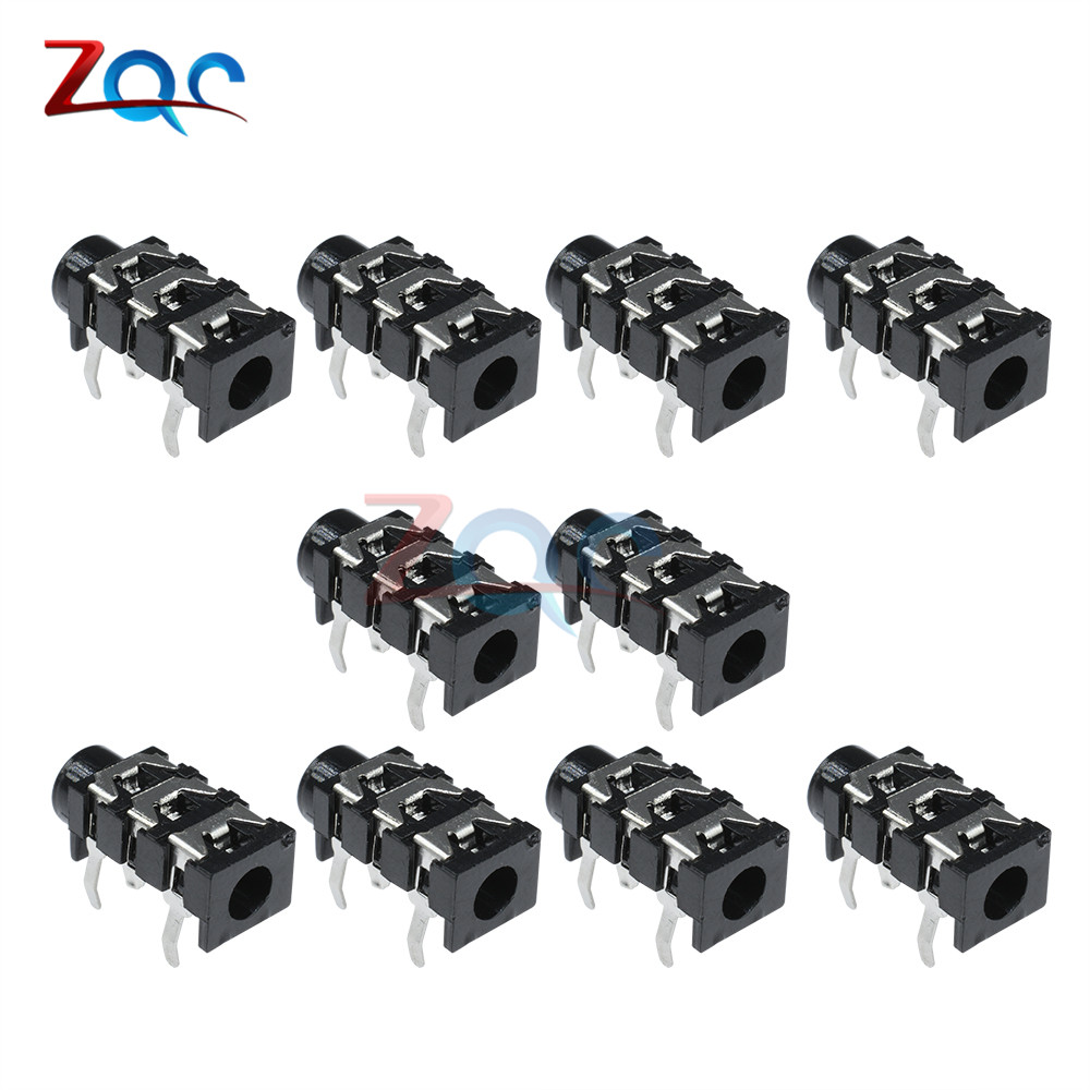 10Pcs 3.5mm 5Pin Stereo Headphone Audio Jack Earphone Socket