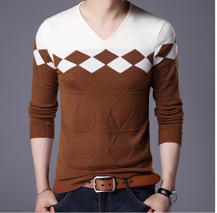 Clothes Top Quality Sweater Thread Striped Pullovers Knittwear O-neck Collar  Casual Men's Sweater