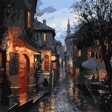 Abstract Night Alley Old Town Picture Painting By Number Modern Wall Art DIY Hand Painted Canvas Coloring Home Decor