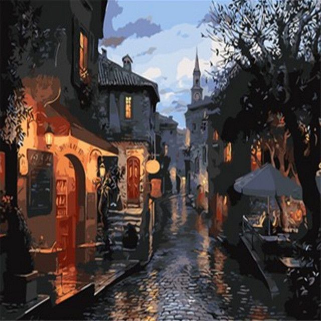 Abstract Night Alley Old Town Picture Painting By Number