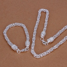 Silver plated refined luxury fashion popular twisted rope necklace bracelets two piece hot selling wedding jewelry S027