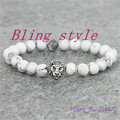1pc 8mm men's bracelet natural white turquoise agate stone beads with lion head bracelet&bangle