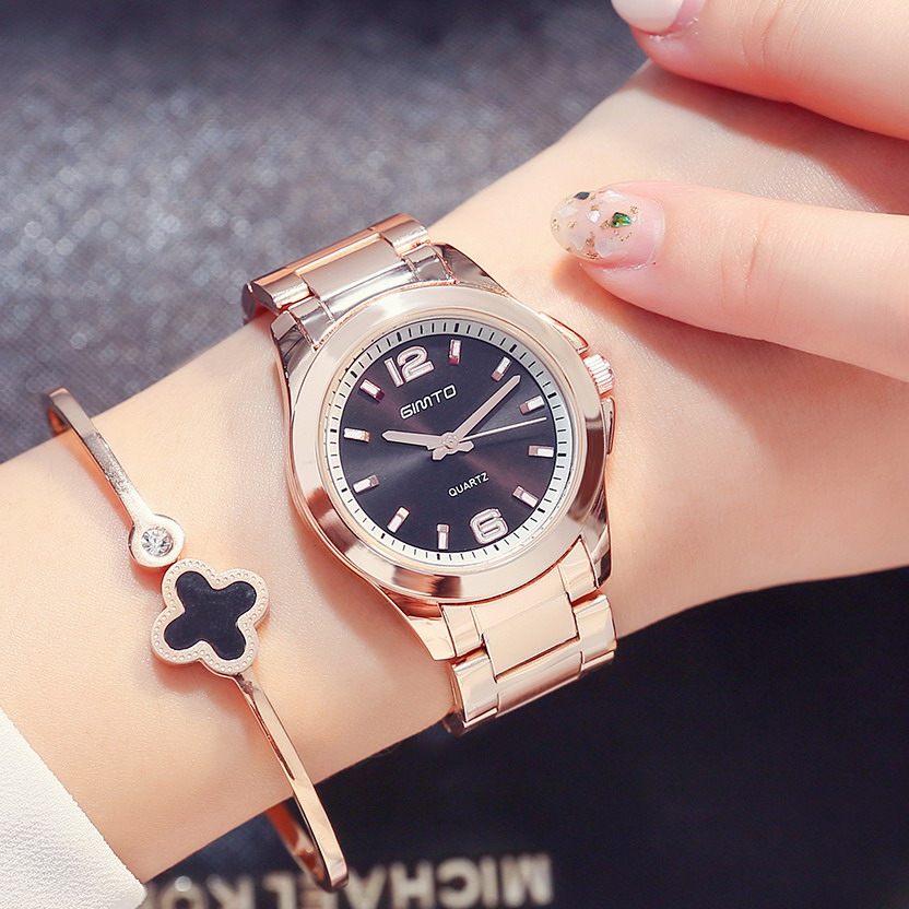 GIMTO 2018 Rose Gold Dress Women Watches Steel Clock Ladies Quartz Watch Luxury Brand Lovers Female gril watch relogio feminino rigardu fashion female wrist watch lovers gift leather band alloy case wristwatch women lady quartz watch relogio feminino 25