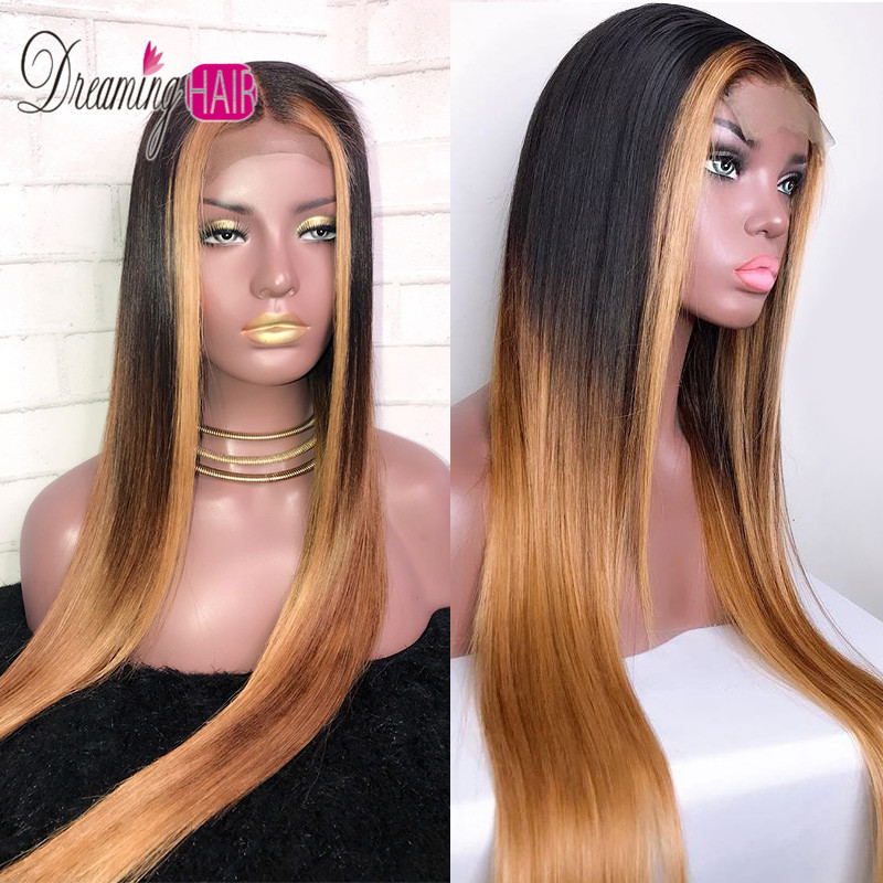 13x6 Red Lace Front Human Hair Wigs Brazilian Remy Hair Straight Honey Blonde Lace Frontal Wigs With Baby Hair For Black Woman