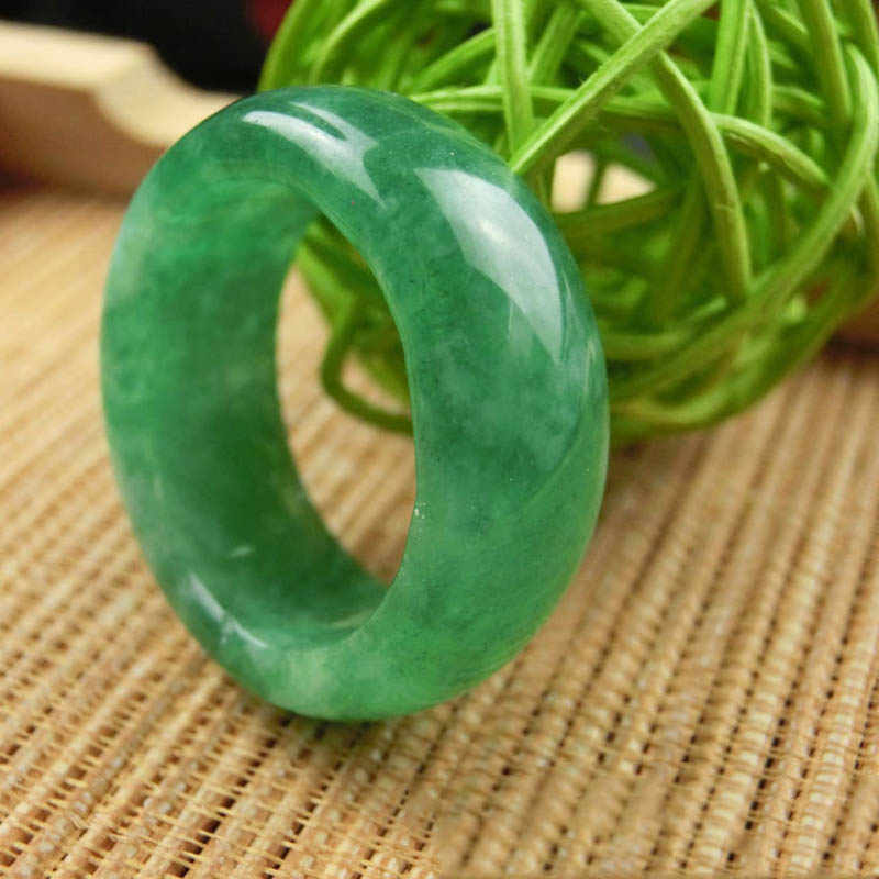 KYSZDL หินสีเขียวธรรมชาติแหวนแฟชั่นคู่เต้นรำหินแหวนคริสตัลเครื่องประดับของขวัญ