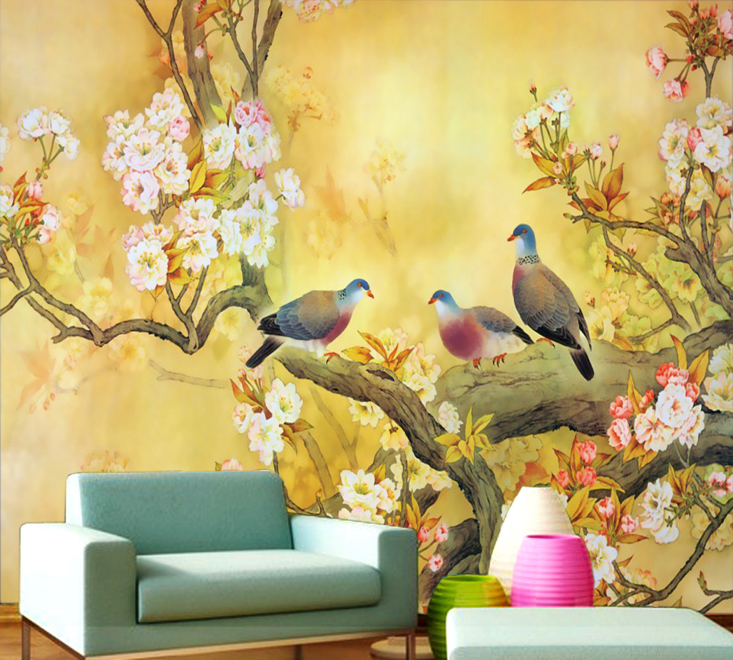 купить Custom large-scale Chinese classical flowers and birds 3D wallpaper backdrop of the living room sofa TV mural festive hi-mei недорого