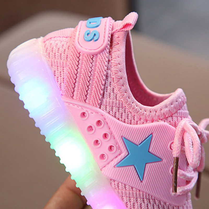 Children Boys Casual Shoes Lighted Baby Shoes 3 Colors Boys Girls Soft Sole Shallow Baby Shoes in Sneakers from Mother Kids