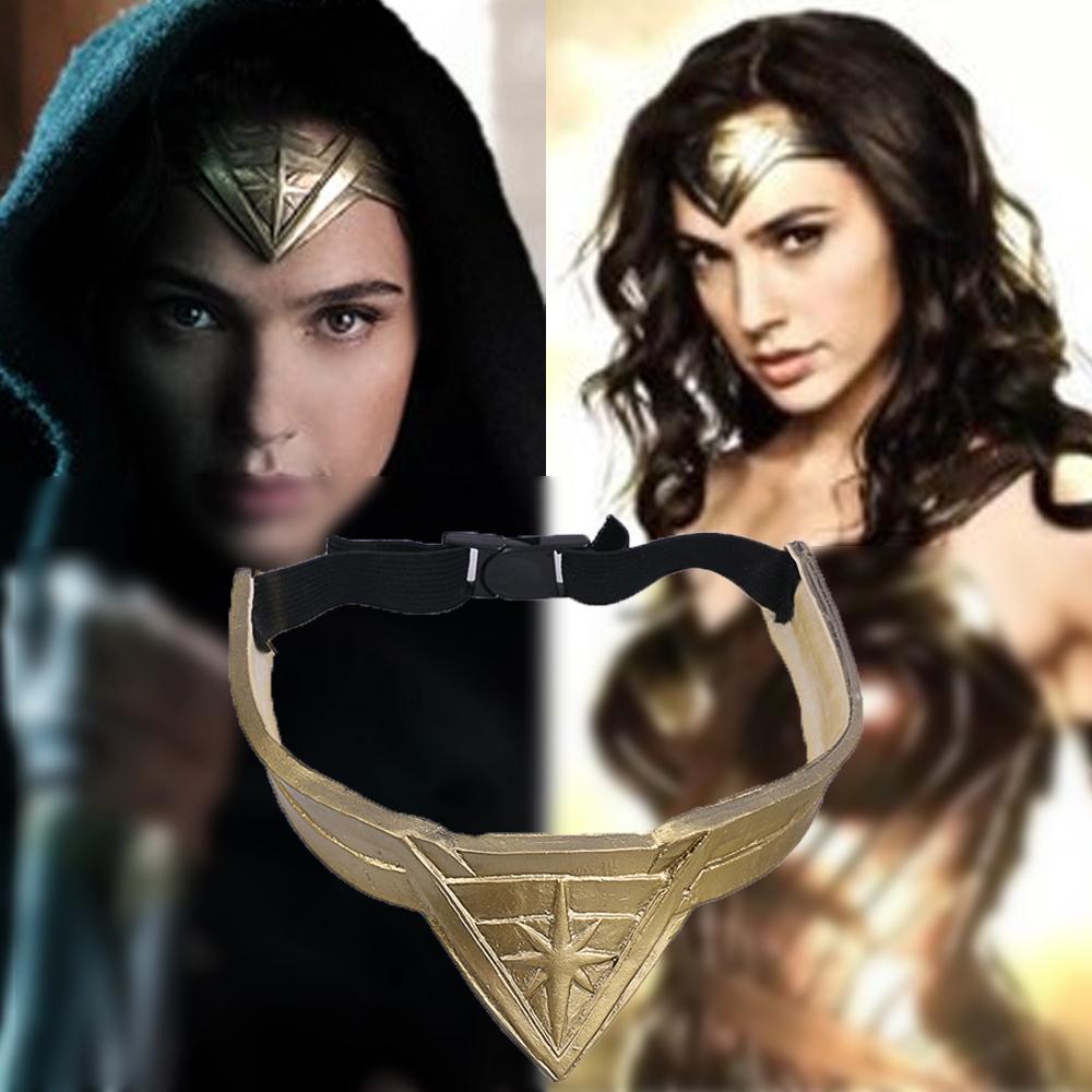 2017 Movie Wonder Woman Superhero Diana Prince Leather Headgear Metal Badge Cosplay Bronze Crown Band Headgear  Adult Woman