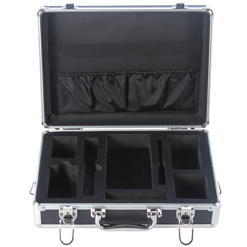 Aluminum plate FTTH  toolbox fiber network hardware tool box empty has black and silver optionalAluminum plate FTTH  toolbox fiber network hardware tool box empty has black and silver optional