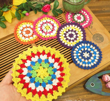 PD054 11cm white multi color Vintage Lace round shaped placemat love hand crocheted cotton doilies  12pcs colorful pads