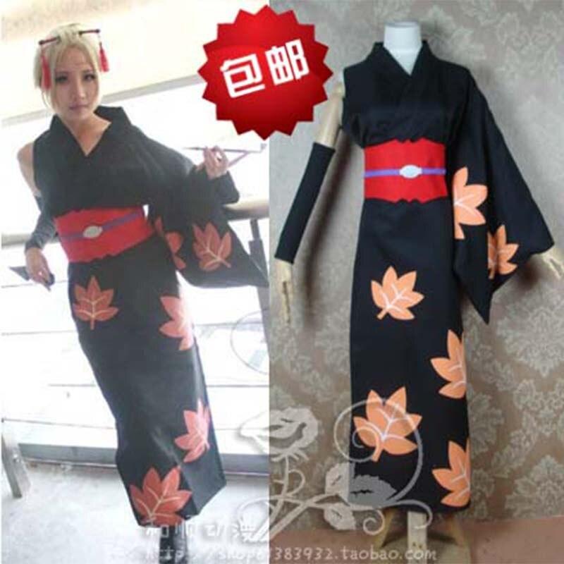 Anime GINTAMA Silver Soul Tsukuyo Cosplay Costume Kimono Uniform Full Set Kimono+Belt+Sleeve+Socks