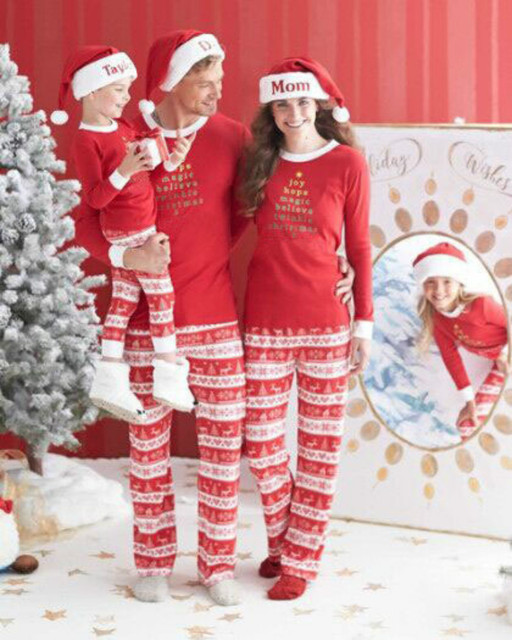 ab1ce8f3a1 Green Red Christmas Pjs Family Matching Clothes Sets Men Women Sleepwear  Home Match Father Me Daughter Mother Son Family Pajamas