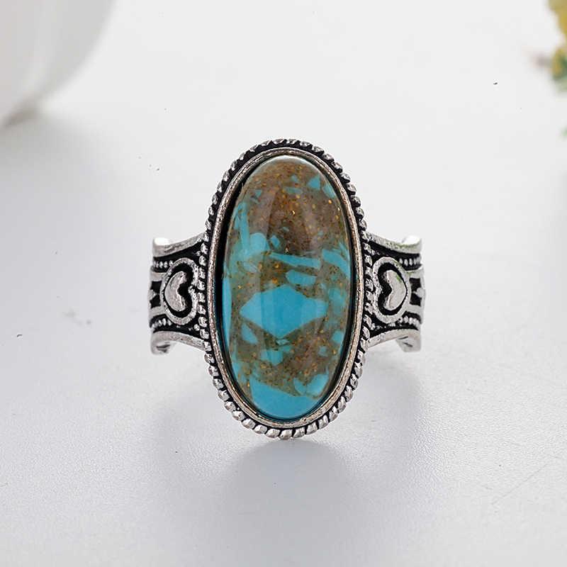 สไตล์โบฮีเมียน Turquoises แหวนผู้หญิงผู้ชายเงินทิเบตโบราณสีฟ้าหินแหวน Vintage Masculino Femme เครื่องประดับ L4Q735