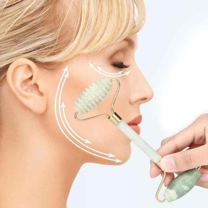 Natural jade rosto rolo queimador de gordura rosto beleza acupoint jade massageador facial aliviar a fadiga microniddle roda cuidados de saúde