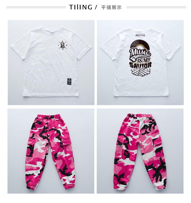Розовая камуфляжная одежда для бальных танцев в стиле хип-хоп детская джазовая улица хип-хоп танцевальный костюм футболка штаны костюм для детей мальчиков и девочек
