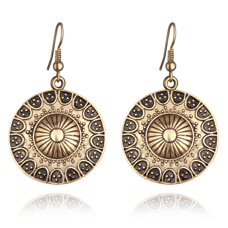 New Arrival Bohemian Tibetan Drop Earings Vintage Silver Plated Round Hanging Earrings Women Ethnic Brincos Indian Jewelry