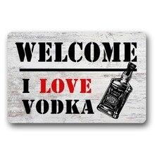 Entrance Floor Mat Non-slip Doormat Welcome I Love Vodka Outdoor Indoor Rubber Mat Non-woven Fabric Top 15.7x23.6 Inch стоимость