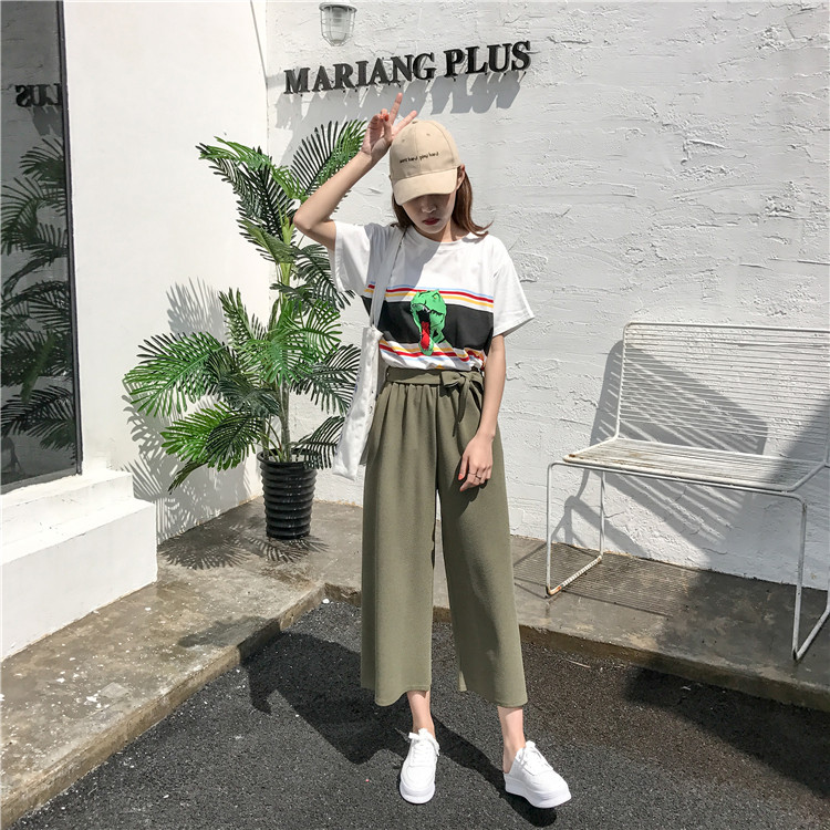 19 Women Casual Loose Wide Leg Pant Womens Elegant Fashion Preppy Style Trousers Female Pure Color Females New Palazzo Pants 19