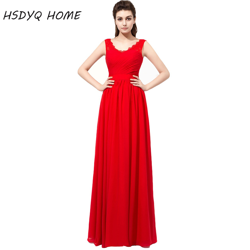 HSDYQ HOME Red Long   Bridesmaid     Dresses   Summer Simple chiffon Party Gowns Formal A-Line Wedding Prom   Dresses