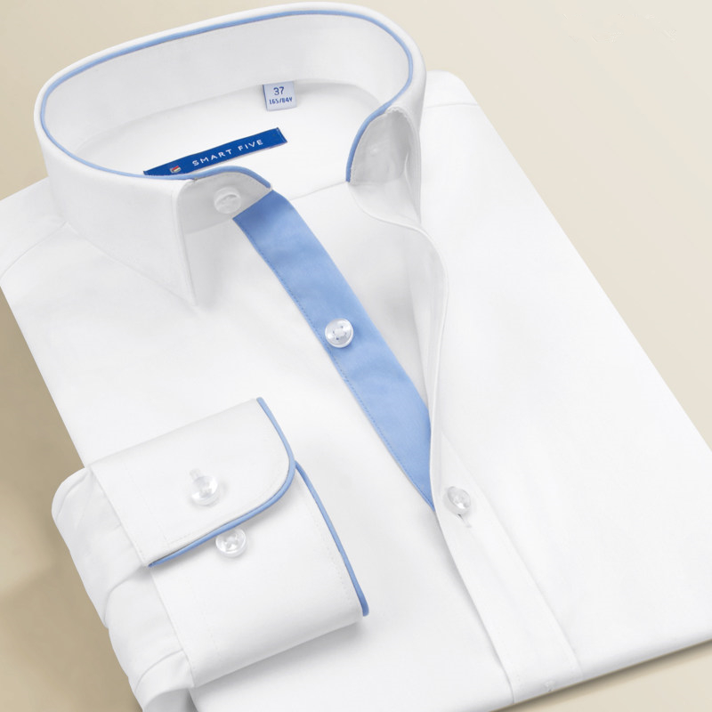 Smart Five Men's Dress Shirts High Quality Long Sleeve Slim Fit White Shirts Men Brand Male Clothing 2018 New Business Office