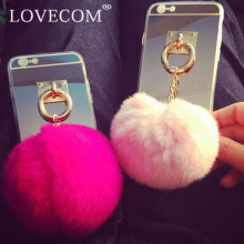 LOVECOM Hot Rabbit Fur Ball Pendant Luxury Mirror Soft TPU Phone Back Cover Cases For iPhone 6 6S Plus