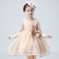 Королевский принцессы Обувь для девочек платье с Винтаж Цветочный Топ осень свадьбу особых поводов для маленьких детская одежда 2T-8