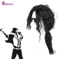 Bybrana Black Long Wavy Wig Anime Hair Michael Jackson Synthetic Halloween Costumes Party High Temperature Fiber