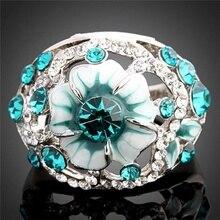 Women Flower Rhinestone Ring Temperament Elegant High-end Boutique Crystal Finger Jewelry Wedding Accessories