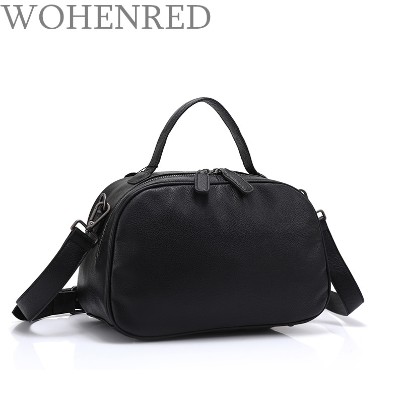 Famous Brand Women Handbag Genuine Leather Ladies Shoulder Bags Fashion Simple Satchel Messenger Bag High Quality Black Tote Bag new crazy horse cowhide women shoulder bag genuine leather fashion casual ladies luxury satchel bags famous brand tote handbag