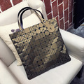 Ellacey Women Silver Geometric Plaid Handbag Women Brand Bag Fashion Diamond Plaid Shoulder Bag Designer Large Tote  Female Bag