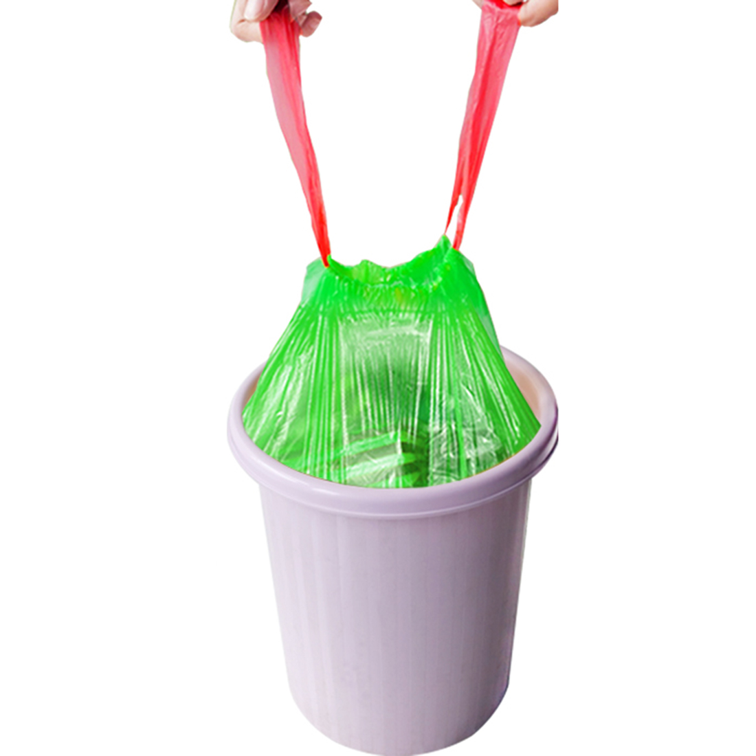 Stringing Thicken Kitchen Household Automatic Trash Can Bin Rubbish Garbage Plastic Bag - Green