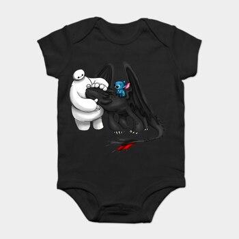 Mono para bebé, Body para bebé, camiseta para chico, superhéroe Baymax, sin dientes y estirado para hombre, moda de verano, manga corta