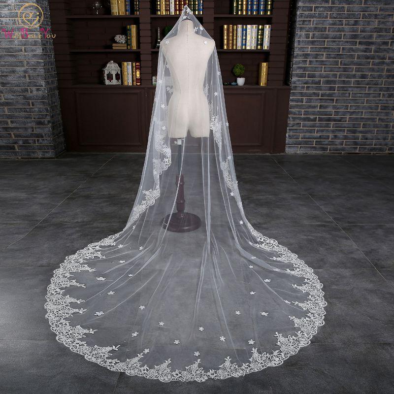 Walk Beside You Bridal Veil voile mariage 3 m Cathedral veu de noiva longo com 3
