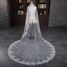 Walk Beside You Bridal Veil voile mariage 3 m Cathedral veu de noiva longo com 3 metros with Lace Applique one Layer with Comb