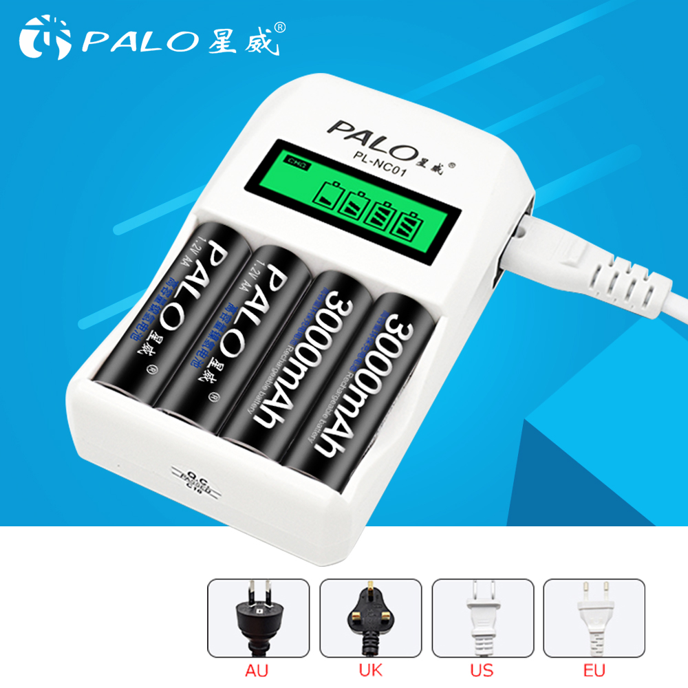 PALO LCD Display 4 Slots Smart Rechargeable Battery Charger For AA  AAA Ni-Cd Ni-Mh Rechargeable Batteries