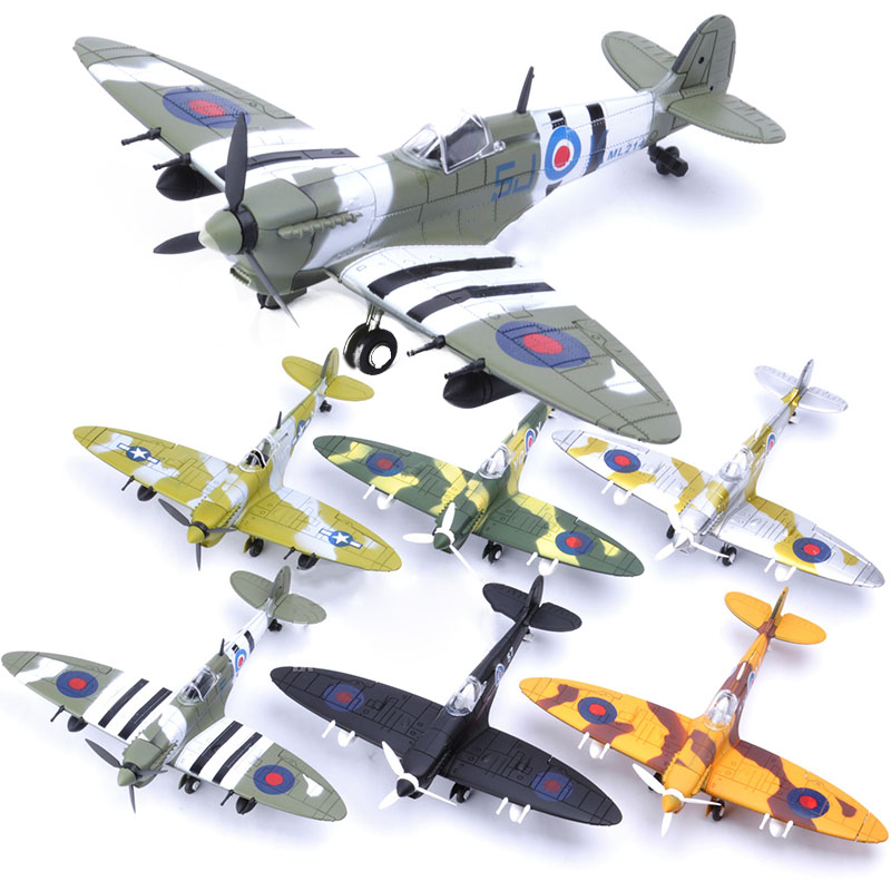 6Pcs Different 22*18CM Assemble Fighter Model Toys Building Tool Sets Aircraft Diecast 1/48 Scale War-II Spitfire Gift for Boy image