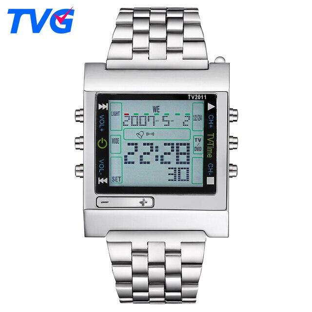 067bd8a97f0 TVG Marca Homens Relógios Desportivos Militar Quartz Digital LED Homens  Relógio Alarme Inteligente Remoto À Prova