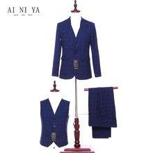 Куртка + Брюки для девочек + жилет Для женщин Бизнес Костюмы Формальная работа 3 предмета Комплект Королевский синий плед женские офисные форма Slim Fit дамы Брючные костюмы для женщин