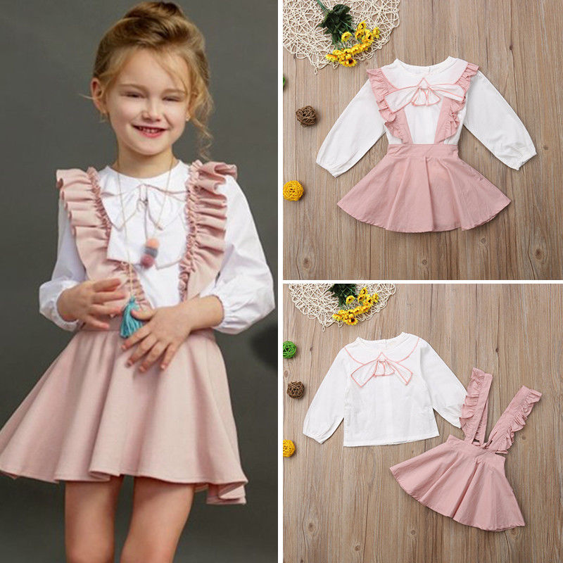Brand Fashion Boutique Kids Baby Girl Ruffle Button Tops