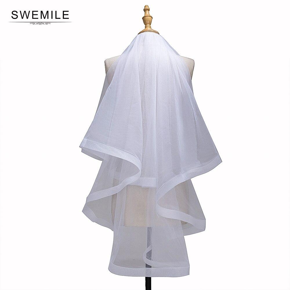 1.5M Ribbon Edge Two Layer Wedding Veil With Comb White Ivory Tulle Bridal Veil Velo De Novia Cheap Wedding Accessories