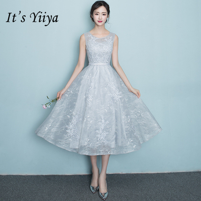 It's YiiY New Simple Knee-length   Bridesmaid     Dresses   Fashion A-line Pure Color Party Frocks YG001