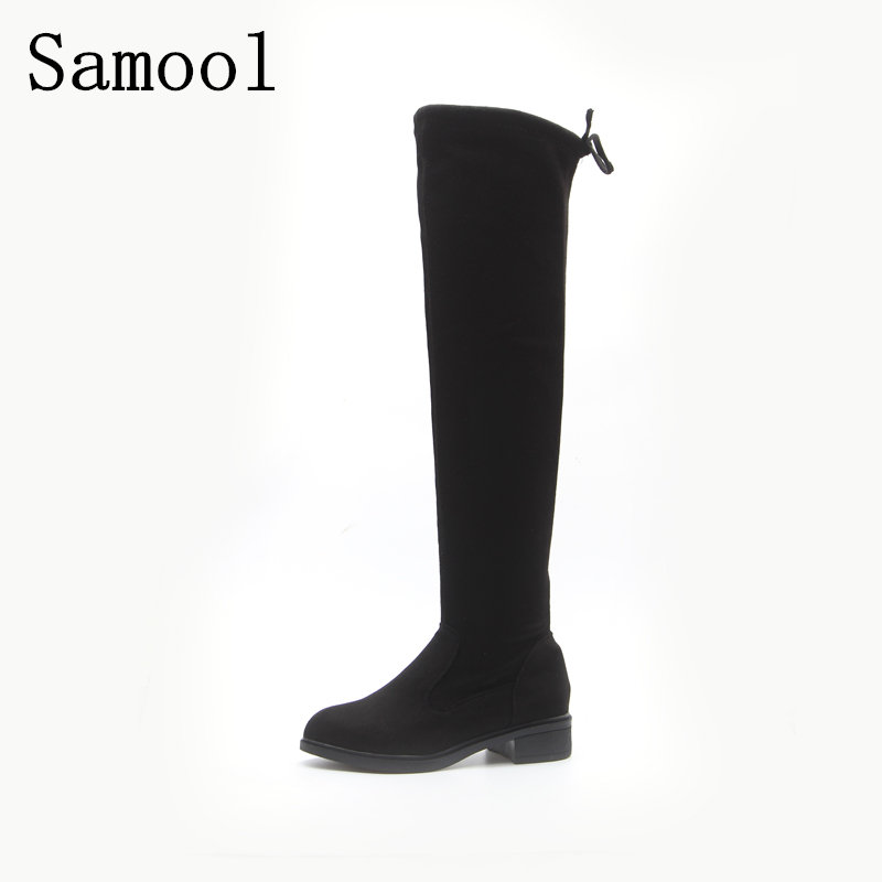 2017  Winter Cow Suede Slim Boots Sexy Over The Knee High Women Snow Boots Women's Fashion Winter Thigh High Boots Shoes Woman ppnu woman winter nubuck genuine leather over the knee snow boots women fashion womens suede thigh high boots ladies shoes flats