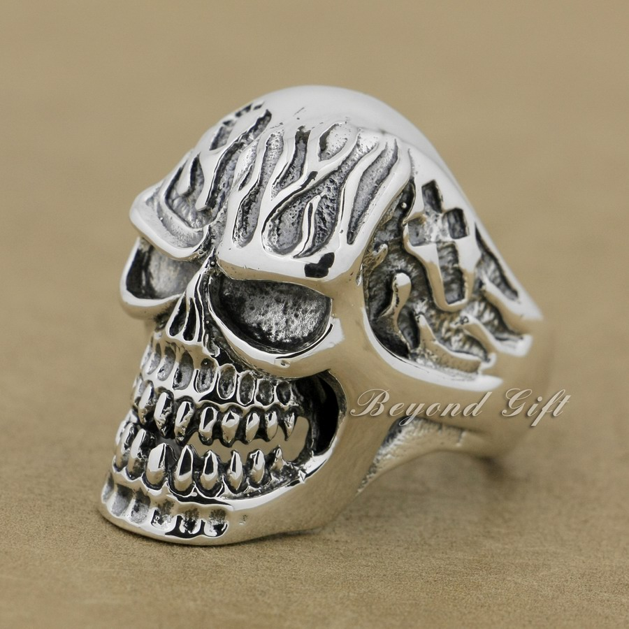 925 Sterling Silver Huge Heavy Skull Mens Biker Punk Ring 9Q019A US Size 8~13 r003 skull shaped titanium steel ring black silver us size 8