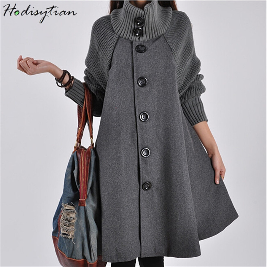 Hodisytian Winter Fashion Women Cloak Wool Blends Knitted Overcoat Button Casual Cotton Thick Female Outerwear Cashmere Overcoat