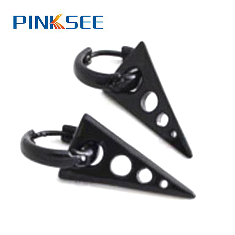 1 Pair Men Boys Black V Earrings Punk Fashion Jewelry Triangle Titanium Steel Ear Studs Personality Accessories Free Shipping