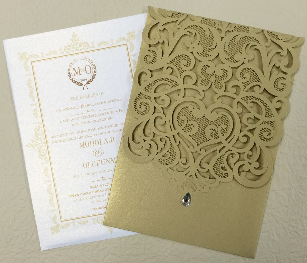 Gold Lace Wedding Invitation Cards