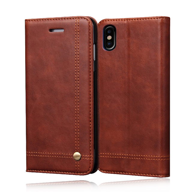 huge discount d1617 b5675 US $12.3 |Deluxe Noble Men Leather Case Fundas for iPhone 8 Plus 8 Wallet  Cover Brown Flip Holster For iPhone 7 Plus 6s 6plus Coque Bags-in Wallet ...