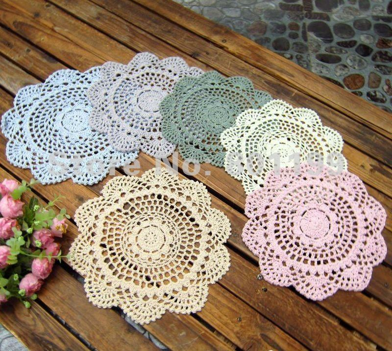 6 Vintage Crocheted Doily Lot Assorted Doilies In Mats Pads From