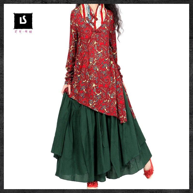 Vintage 70 s ethnique longue vert foncé jupe 2019 femmes femme automne printemps style Mexicain marque l'expansion jupe longuette