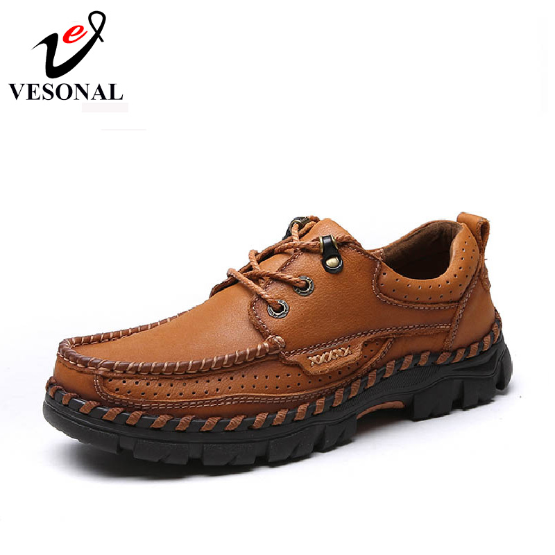 VESONAL Hot Sale 2017 New Brand Genuine Leather Casual Male Shoes For Men Adult Quality Autumn Walking Breathable Man Footwear vesonal 2017 quality mocassin male brand genuine leather casual shoes men loafers breathable ons soft walking boat man footwear